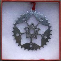Bicycle Sprocket Snowflake Pewter Ornament
